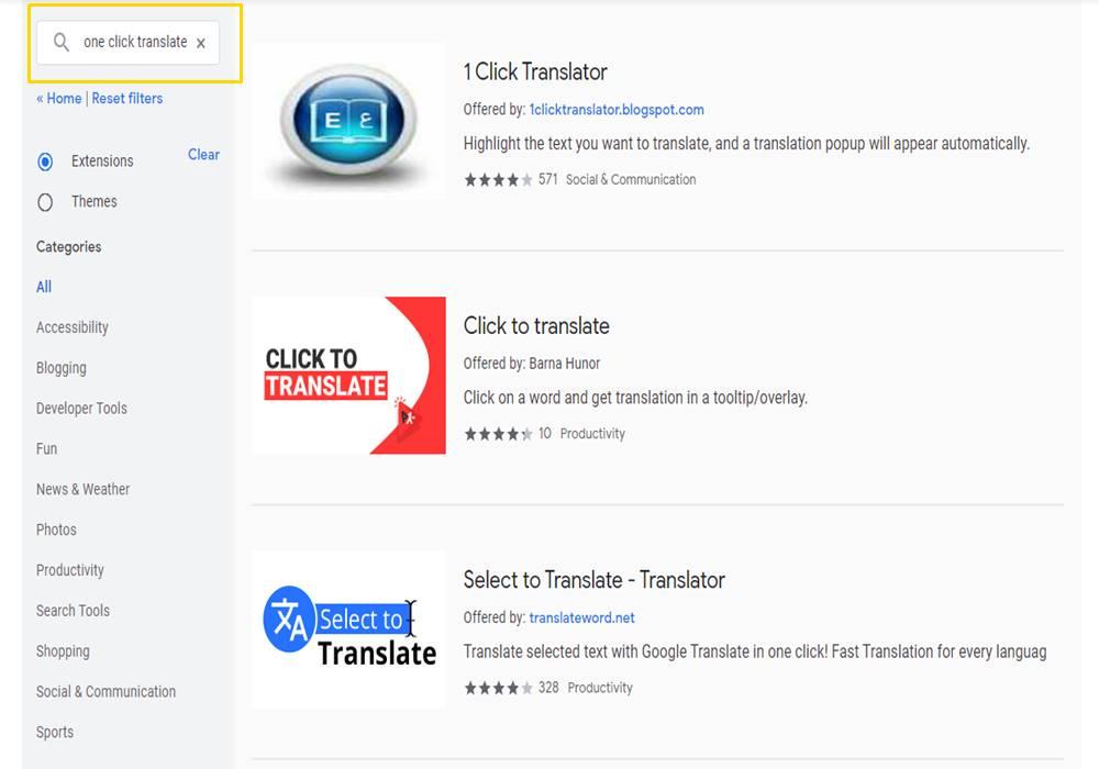 Google Chrome web store search